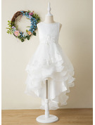 Ball-Gown/Princess Asymmetrical Flower Girl Dress - Organza/Satin Sleeveless Scoop Neck With Bow(s)