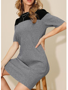Renkli klişe Manşon Mâneci la Jumătate Mini gündelik Pulover Moda Elbiseler