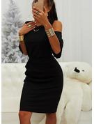 固体 ボディコンドレス 1/2袖 コールドショルダースリーブ ミディ リトルブラックドレス カジュアル ペンシル ファッションドレス