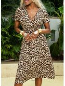 Leopard Sheath Kortermer Midi Avslappet Motekjoler