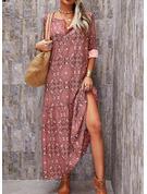 Print Shift 1/2 Sleeves Maxi Boho Casual Vacation Dresses