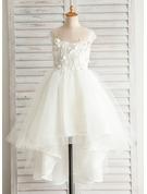 A-Line/Princess Asymmetrical Flower Girl Dress - Satin/Tulle/Cotton Sleeveless Bateau With Appliques/V Back