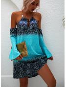 Nadruk Suknie shift Odkryte ramię Długie rękawy Mini Nieformalny Modne Suknie