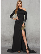 Sheath/Column One-Shoulder Sweep Train Jersey Evening Dress With Beading