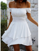 Solid A-line Short Sleeves Mini Casual Vacation Skater Dresses