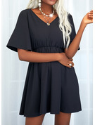 Lace Solid A-line 1/2 Sleeves Mini Little Black Casual Skater Dresses