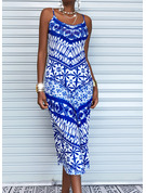 Druck Rückenfrei Etui Ärmellos Maxi Lässige Kleidung Urlaub Typ Modekleider
