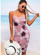 Floral Lace Print Bodycon Sleeveless Midi Casual Type Dresses