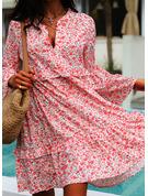 Blommig Print Shiftklänningar Flare Ärm Långa ärmar Midi Fritids Tunika Modeklänningar