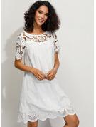 Lace Solid Shift 1/2 Sleeves Mini Casual Elegant T-shirt Dresses