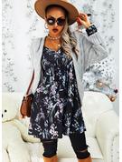 Blomster Blonder Print Skiftekjoler Lange ærmer Midi Casual Elegant Tunika Mode kjoler