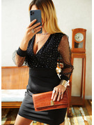 Paillettes Couleur Unie Moulante Manches Longues Mini Petites Robes Noires Fête Élégante Robes tendance