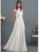 A-Line/Princess Scoop Neck Floor-Length Chiffon Wedding Dress With Beading Flower(s) Sequins