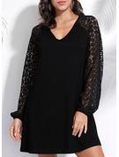 Lace Solid Shift Long Sleeves Mini Little Black Casual Elegant Tunic Dresses