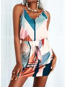 Trozos de color Impresión raya Cubierta Sin mangas Mini Casual Tipo Vestidos de moda