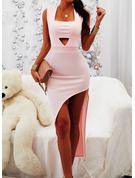 Solid Bodycon Sleeveless Asymmetrical Party Sexy Dresses