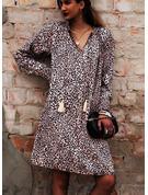 leopardo Abiti dritti Manica a lanterna Maniche lunghe Mini Casuale Vacanza Tunica Vestiti di moda