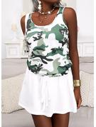 Print Camouflage A-line Sleeveless Mini Casual Skater Dresses