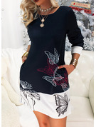 Animal Print Floral Bodycon Long Sleeves Mini Casual Dresses