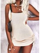 Solid Bodycon Sleeveless Mini Casual Type Dresses