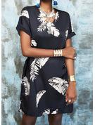 Stampa Abiti dritti Maniche corte Mini Elegante Vestiti di moda