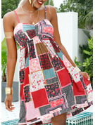 Patchwork Print A-line Sleeveless Mini Boho Casual Vacation Type Dresses