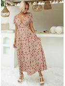 Květiny Tisk Do tvaru A Krátké rukávy Maxi Neformální Dovolená Skaterové Módní šaty