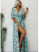 Print A-linjeklänning 1/2 ärmar Maxi Party Elegant skater Bolerojackor Modeklänningar
