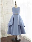 A-Line Tea-length Flower Girl Dress - Satin Sleeveless V-neck With Beading