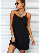 Solido A trapezio Senza maniche Mini Piccolo nero Casuale Tipo Vestiti di moda