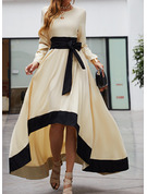 Color Block A-line Long Sleeves Asymmetrical Party Casual Elegant Skater Dresses