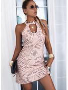 Impresión Cubierta Sin mangas Mini Casual Vestidos de moda