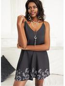 Kwiatowy Nadruk Suknie shift Bez Rękawów Mini Nieformalny Wakacyjna Modne Suknie