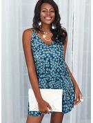 Blommig Print Shiftklänningar Ärmlös Mini Fritids Semester Typ Modeklänningar