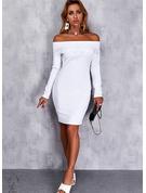 Solido Aderente Maniche lunghe Mini Elegante Vestiti di moda