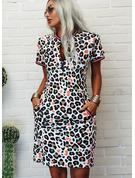 leopardo Stampa Aderente Maniche corte Midi Casuale Matita Vestiti di moda
