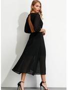 Solid Kjole med A-linje 3/4 ærmer Midi Party Elegant Sexet Wrap Mode kjoler
