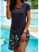Floral Print A-line Short Sleeves Mini Casual Skater Dresses
