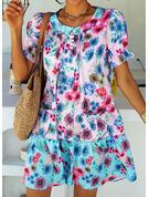 Floral Print Shift Short Sleeves Midi Casual Vacation Tunic Dresses