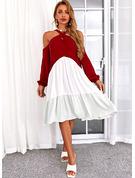 Color Block Shift Long Sleeves Midi Casual Tunic Dresses