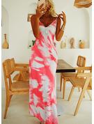 Tisk Do tvaru A Bezrukávů Maxi Neformální Dovolená Typ Módní šaty