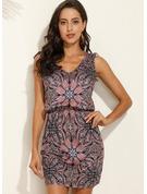 Kwiatowy Nadruk Pokrowiec Bez Rękawów Mini Boho Nieformalny Wakacyjna Modne Suknie