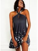 Blumen Druck Rückenfrei Etui Ärmellos Mini Lässige Kleidung Urlaub Modekleider