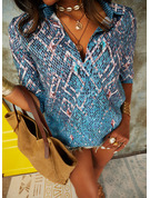 Geometric Print Lapel Long Sleeves Casual Shirt Blouses
