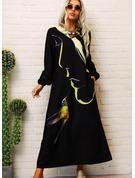 Zviřecí Potisk Šaty Shift Dlouhé rukávy Maxi Neformální Módní šaty