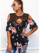 Blomster Blonder Print Kolde skulder 1/2 ærmer Casual Plus størrelse Skjorter