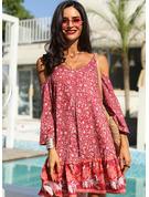 Kwiatowy Nadruk Suknie shift Rękawy 3/4 Odkryte ramię Mini Boho Nieformalny Wakacyjna Modne Suknie