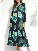 Floral Print Shift Long Sleeves Maxi Casual Elegant Dresses