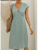 Imprimeu Manşon Mâneci Scurte Midi gündelik Tatil Moda Elbiseler