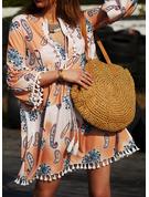 Print Shift 3/4 Sleeves Flare Sleeve Mini Boho Casual Vacation Tunic Dresses